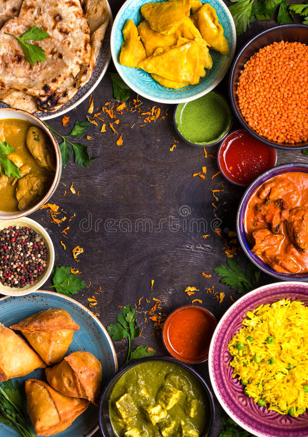 Assorted indian food royalty free stock photos