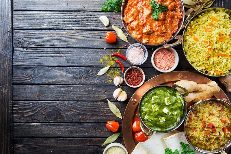 Assorted indian food royalty free stock photography
