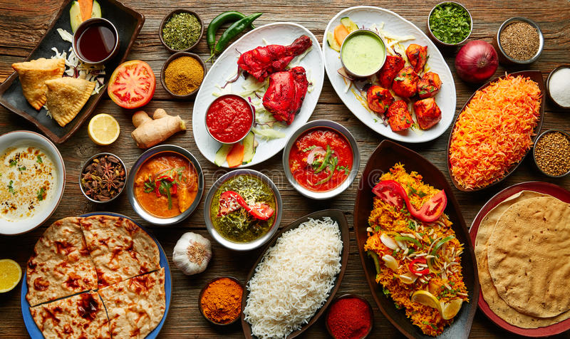 Assorted Indian recipes food various stock photography