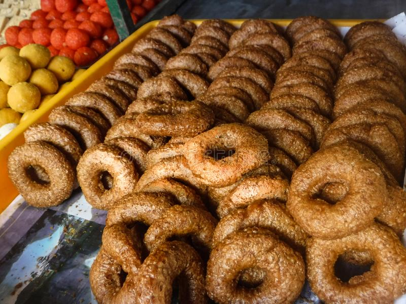 Assorted Indian sweets in Little India Town. royalty free stock photography