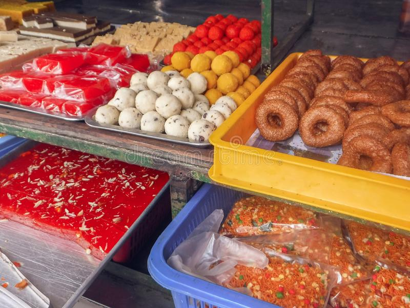 Assorted Indian sweets in Little India Town royalty free stock images