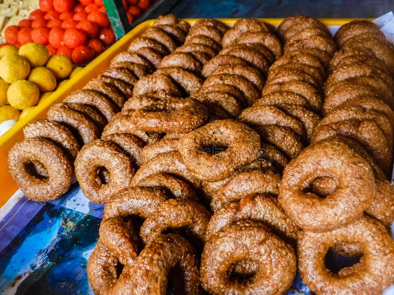 Assorted Indian sweets in Little India Town stock photos