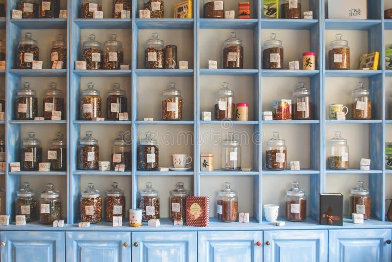 Assorted Jars On Blue Shelf Cabinets Free Public Domain Cc0 Image