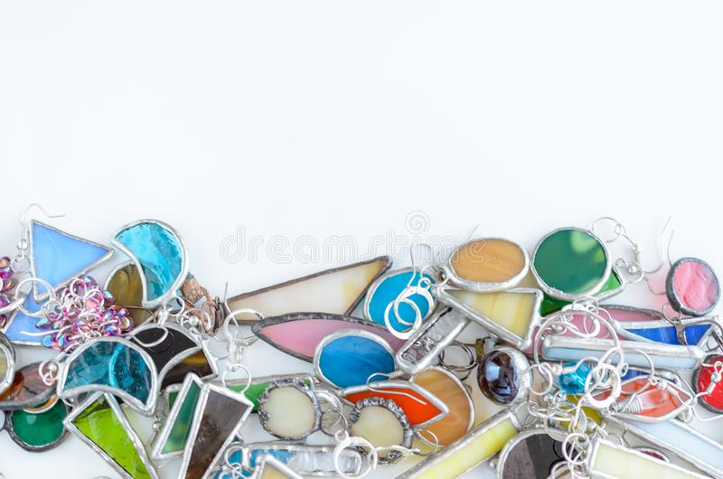 Assorted jewelry background with copy space for text. Fashion accessories shopping concept.  royalty free stock image