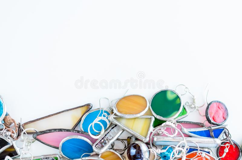 Assorted jewelry background with copy space for text. Fashion accessories shopping concept.  royalty free stock photos