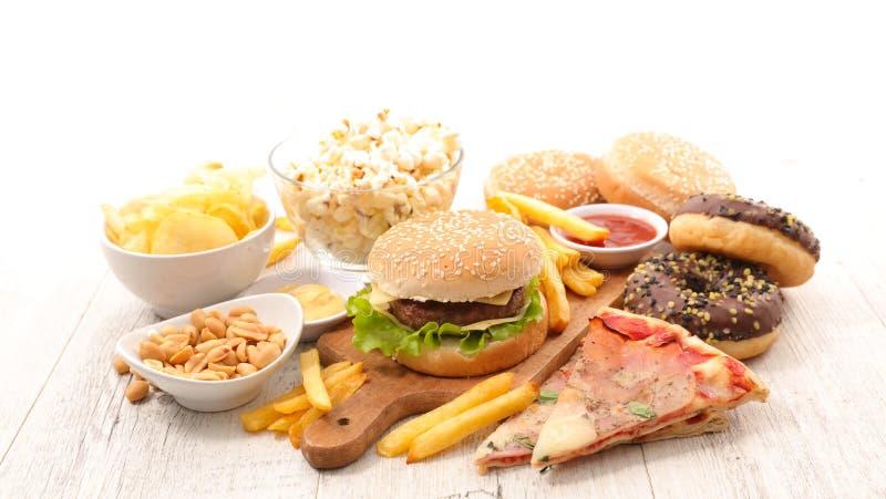 Assorted junk food. Studio shot stock photo