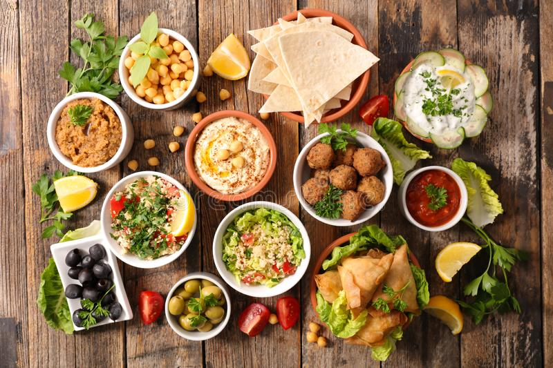 Assorted lebanese food. Top view stock photos