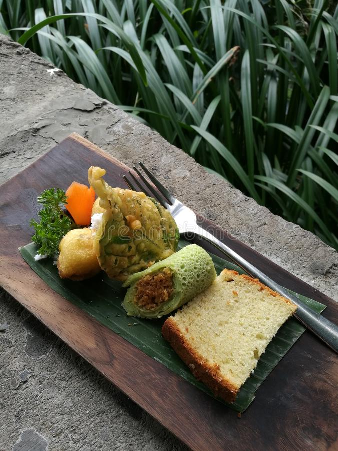 Assorted local Balinese snacks stock images
