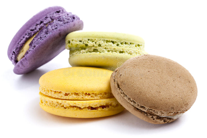 Assorted Macaron Macarons Colorful. Assorted colorful macarons on white background stock photos