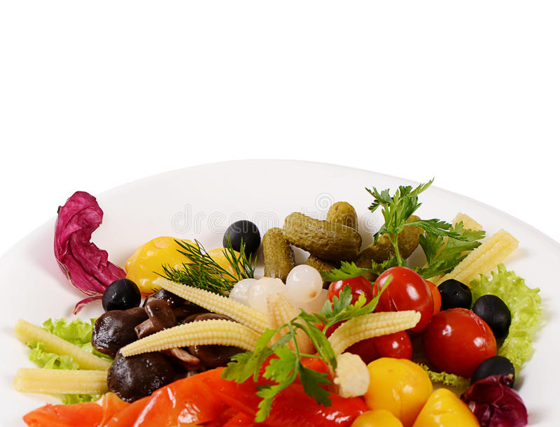 Assorted marinated vegetables and mushrooms royalty free stock photos