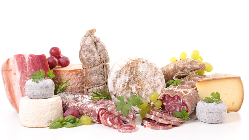 Assorted meat and cheese royalty free stock images