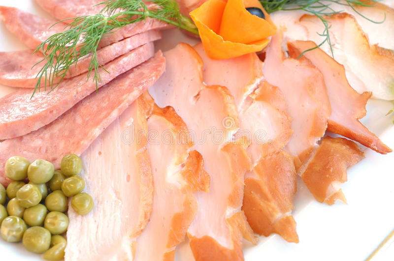 Assorted meat in slices royalty free stock photos