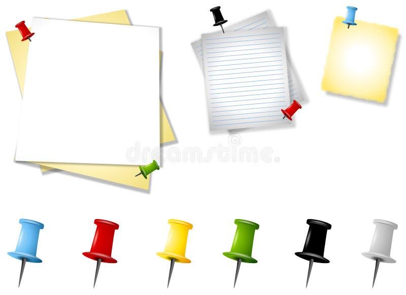 Download Assorted Memo Paper Thumbtacks Stock Illustration - Image: 4824829