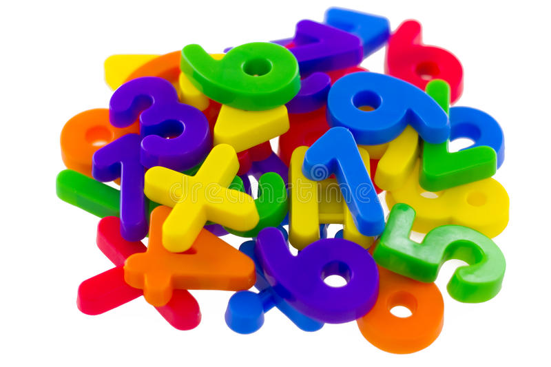Assorted Numbers and Mathematical Symbols stock image