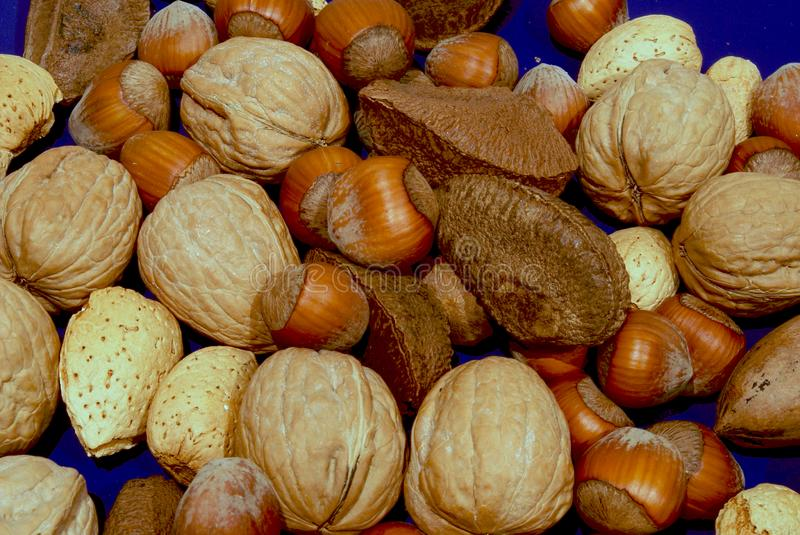 Assorted nuts on blue stock photos
