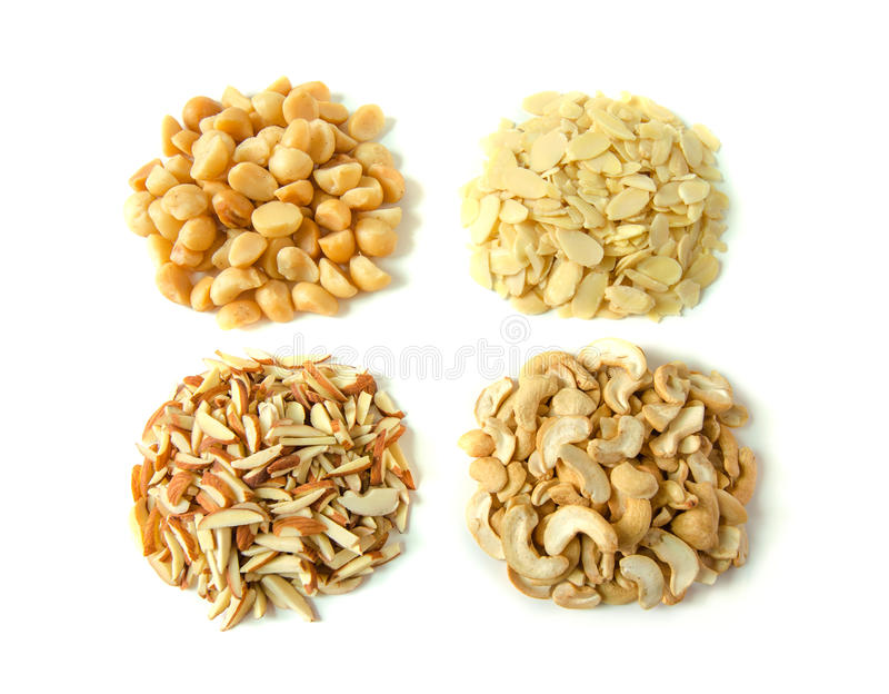 Assorted nuts on white background royalty free stock photos