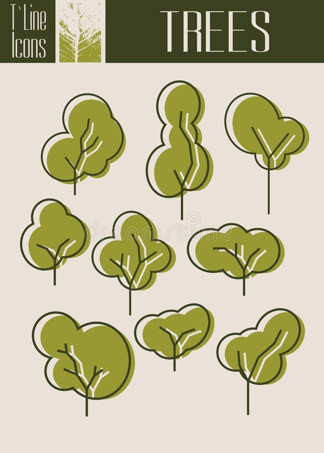 Assorted Outlined Tree Icon Set Isolated. Autumn season. Assorted Outlined Tree Icon Set Isolated. Collection of Outline Icons For Web and Mobile. Summer and stock illustration