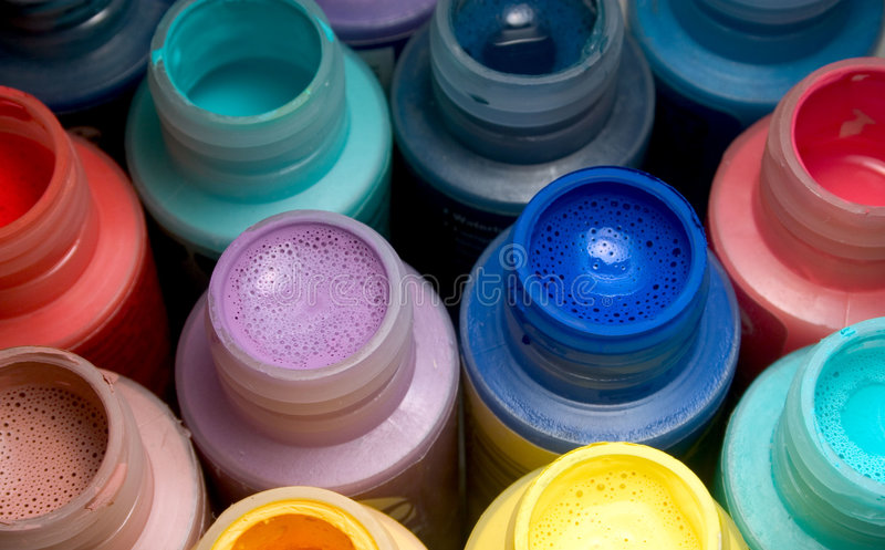 Assorted Paint bottles royalty free stock photos