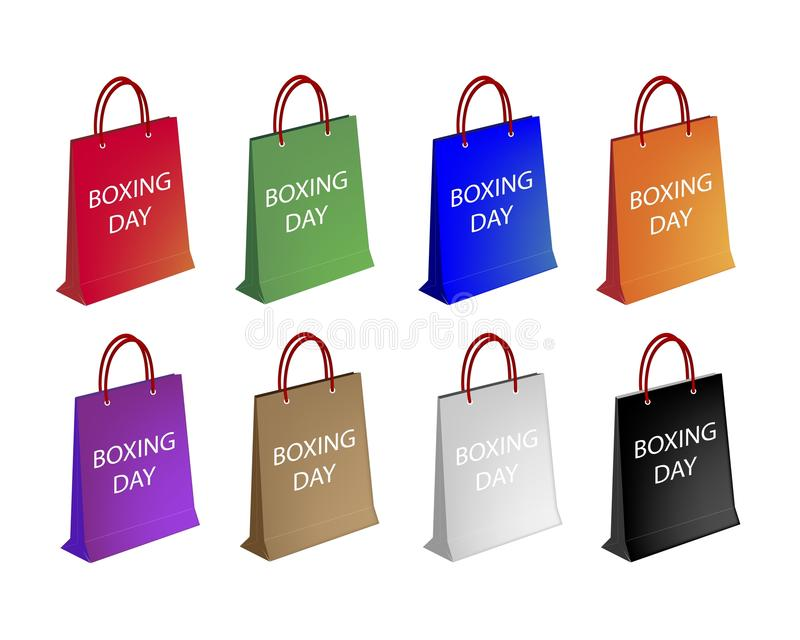 Assorted Paper Shopping Bags for Boxing Day royalty free illustration