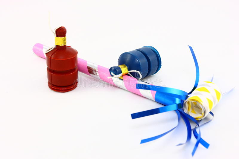 Assorted Party Favors On White royalty free stock photography