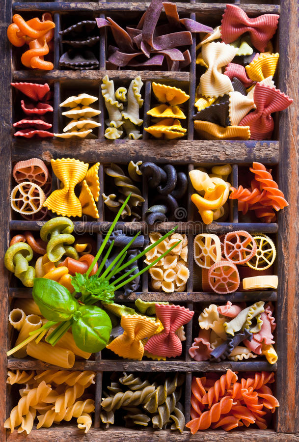Assorted Pasta In A Letter-box Royalty Free Stock Photo