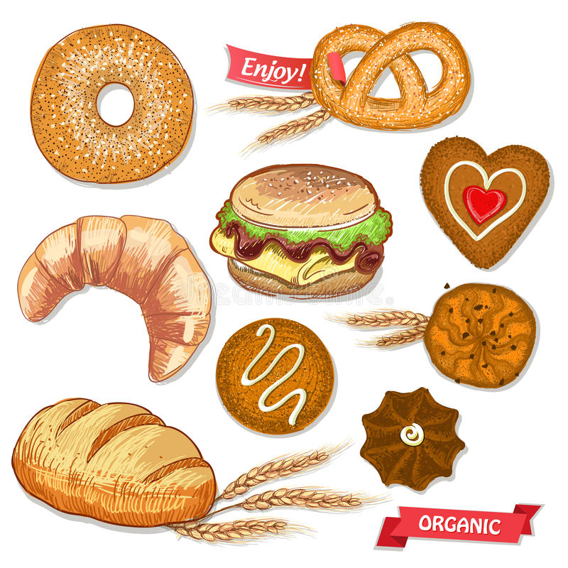 Assorted pastry set illustration with cookies, bread, bagel, croissant, pretzel and burger. vector illustration