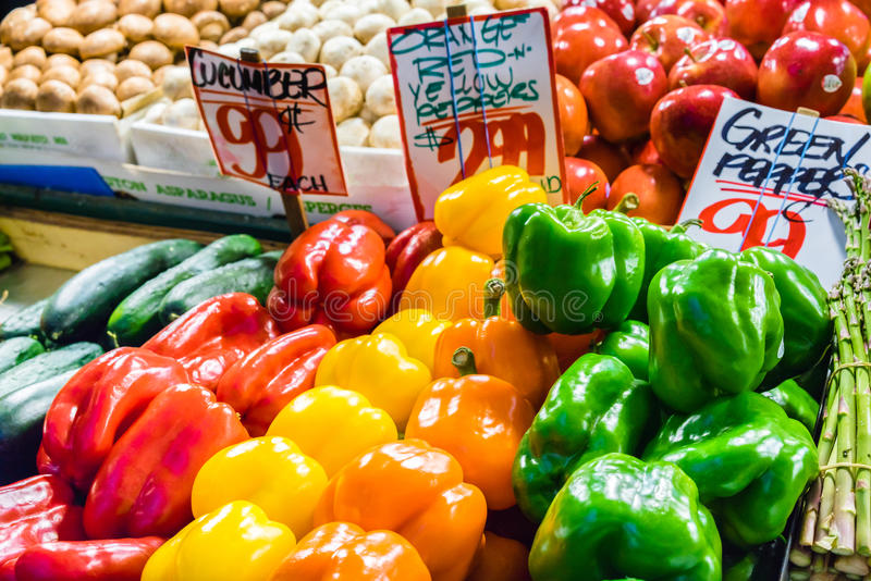 Assorted peppers for sale royalty free stock images