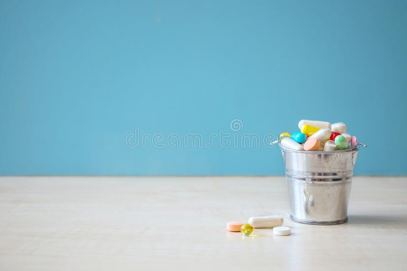 Assorted pharmaceutical medicine pills, tablets and capsules in stock photos