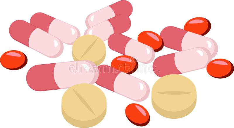 Assorted pharmaceutical medicine pills, tablets and capsules over white background. Raster Illustration stock illustration