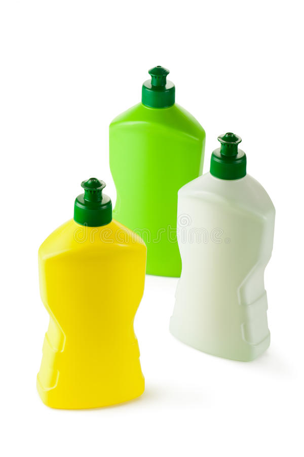 Assorted plastic bottles with cleaning liquid royalty free stock photos