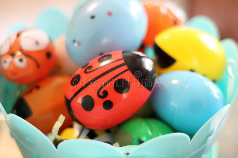Assorted plastic Easter eggs stock photography