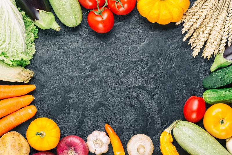 Assorted raw organic fresh vegetables on black stone background. Fresh garden vegetarian food. Autumn seasonal frame of farmer royalty free stock photography