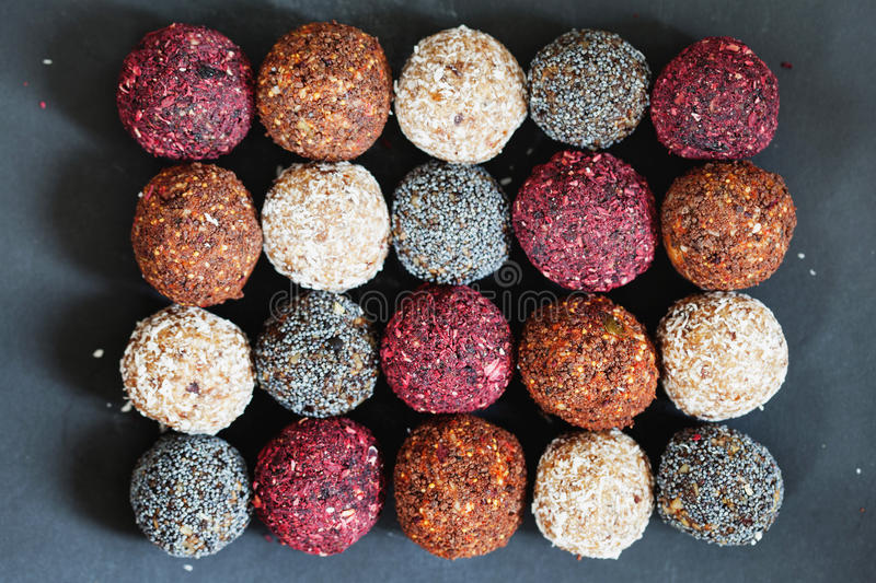 Assorted raw vegan sweets stock photography