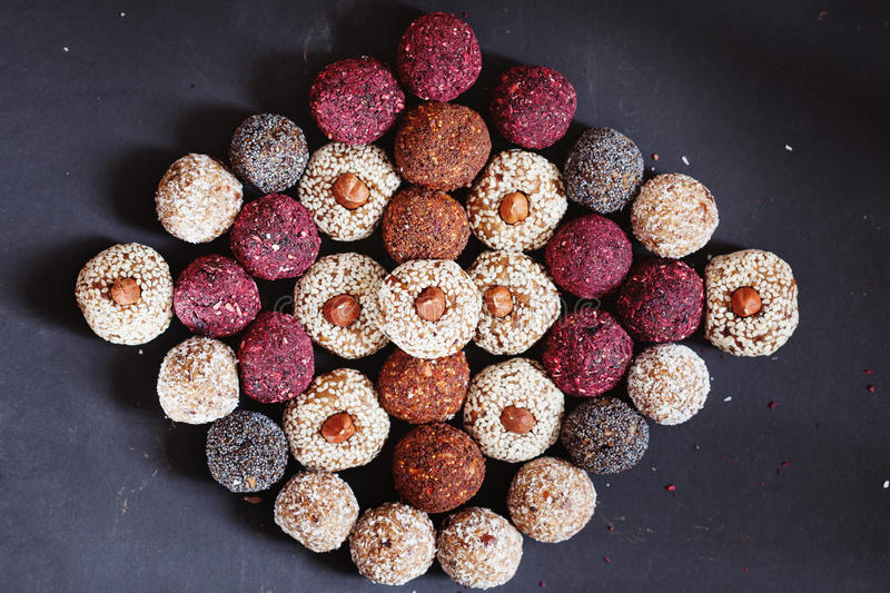 Assorted raw vegan sweets royalty free stock image