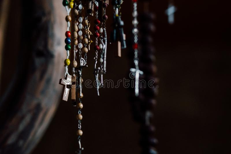 Assorted Rosary Prayer Beads royalty free stock photography