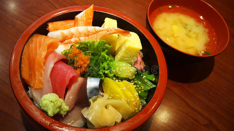 Assorted sashimi Japanese rice bowl stock photos