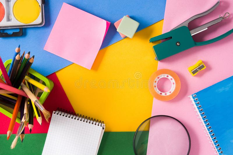 Assorted of school supplies. Back to school concept. stock photography