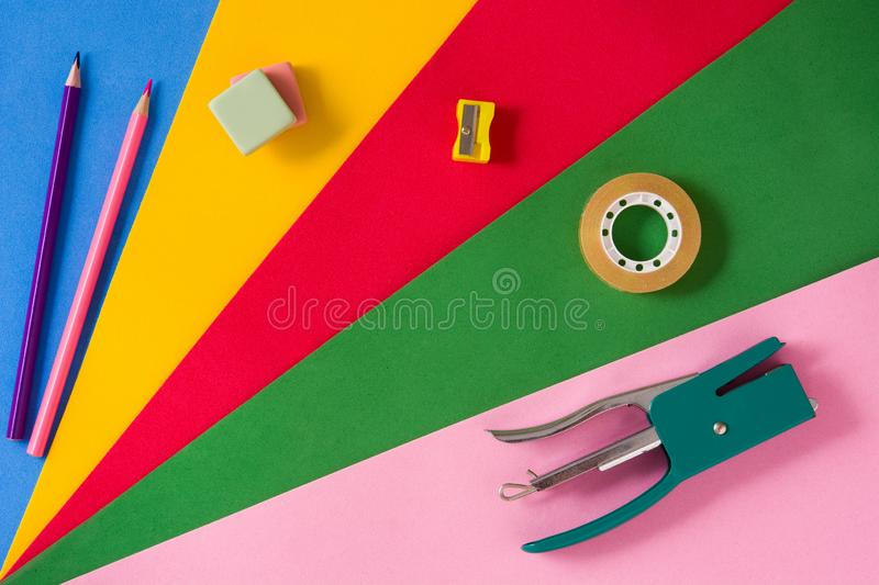 Assorted of school supplies. Back to school concept. stock photo