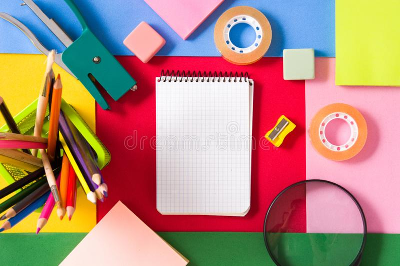 Assorted of school supplies. Back to school concept. stock images