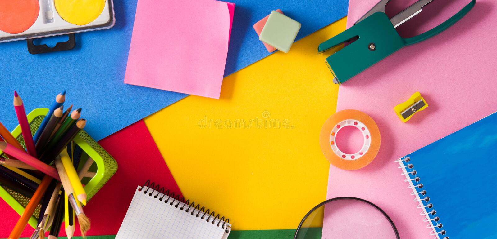 Assorted of school supplies. Back to school concept. royalty free stock photo