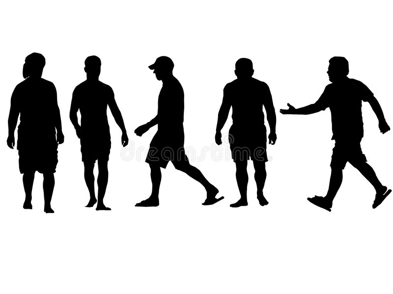 Assorted Silhouettes Walking royalty free illustration
