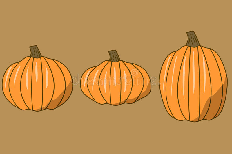 Assorted sizes of vector pumpkins royalty free stock image