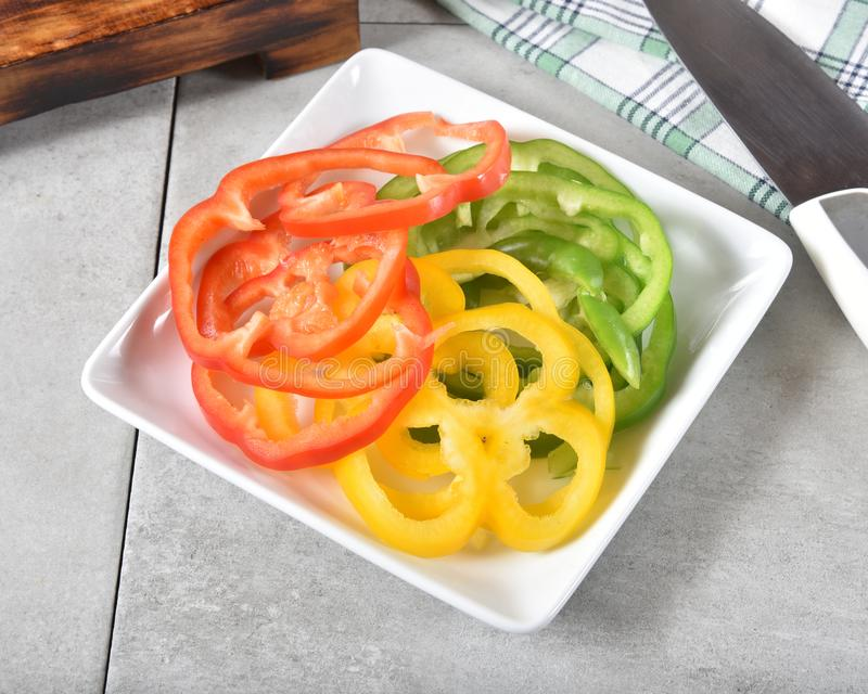 Assorted bell peppers royalty free stock photos