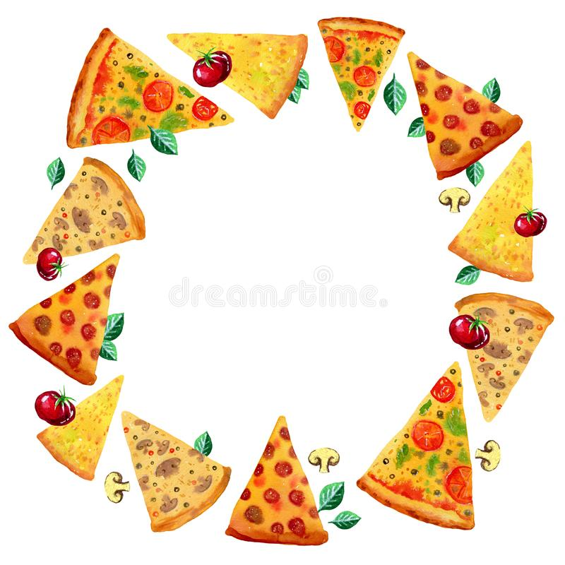 Assorted slices of pizza with tomatoes and leves in round frame. Hand drawn watercolor set for posters and cards stock illustration