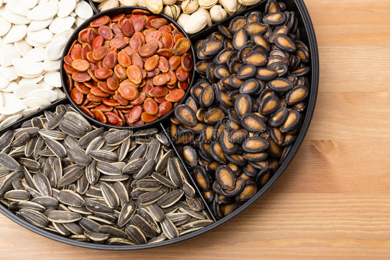 Assorted Snack tray for Lunar new year. Close up royalty free stock photo
