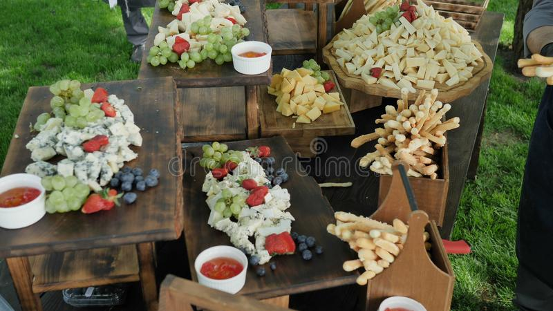 Assorted snacks for French wine made from several types of organic cheese, natural nuts, berries and gleb sticks on a stock photos