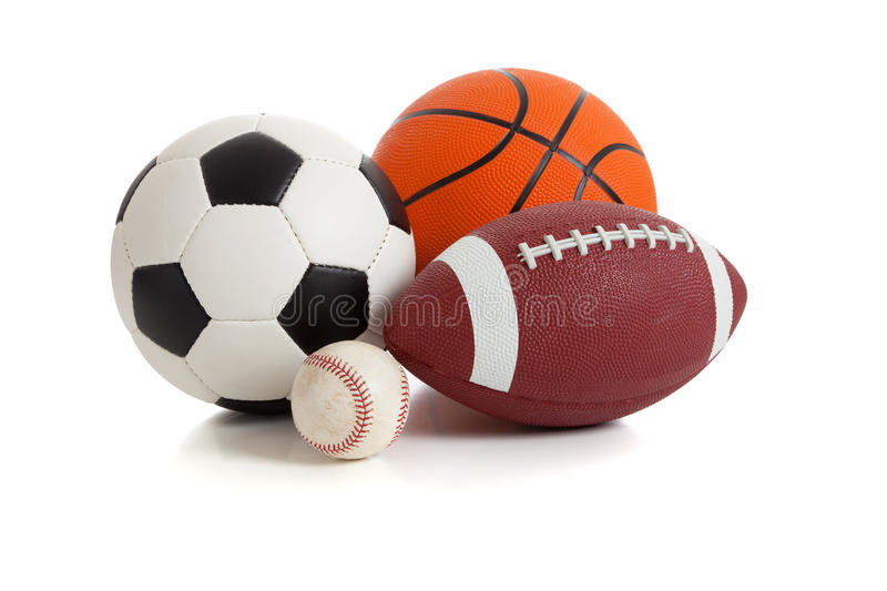 Assorted Sports Balls on White stock images