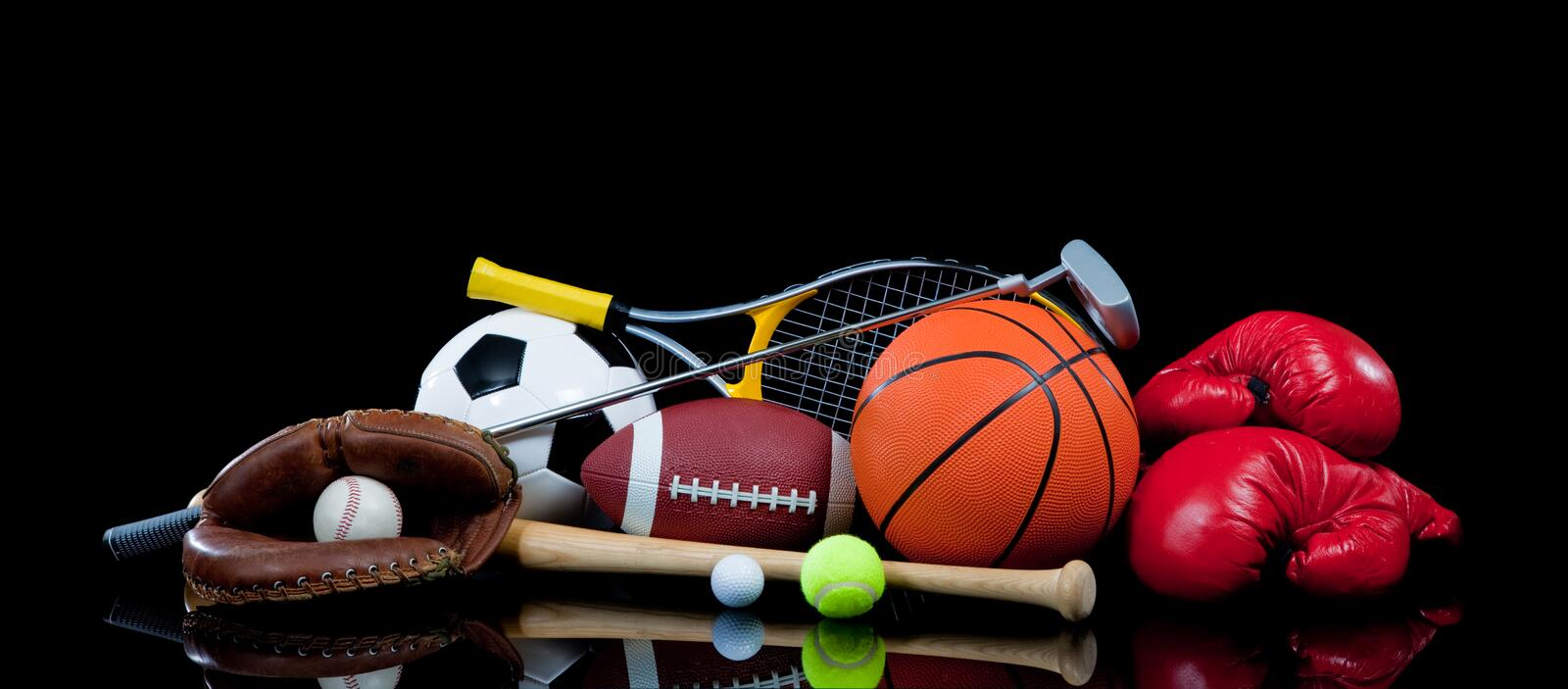 Assorted Sports Equipment on Black royalty free stock photo