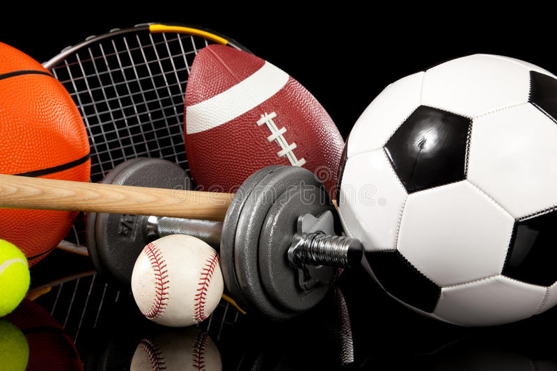 Download Assorted Sports Equipment On Black Stock Image - Image: 11917537