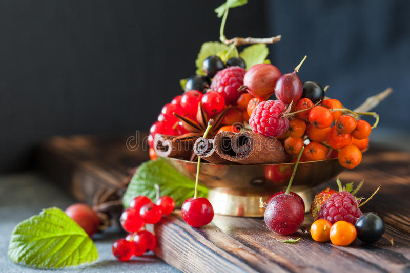 Assorted summer and autumn berries stock photo